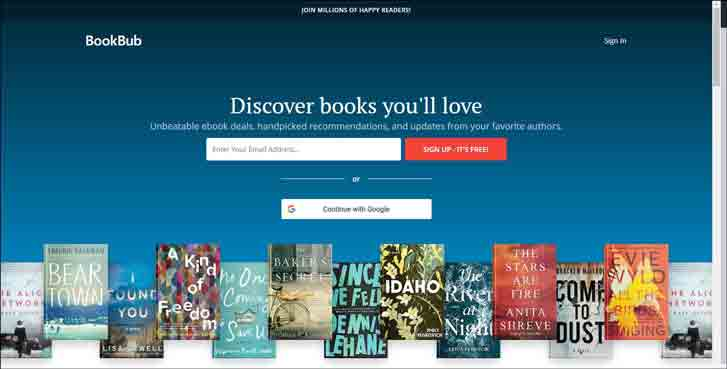 Landing page of BookBub. Fill in your email address to start the free sign up process.
