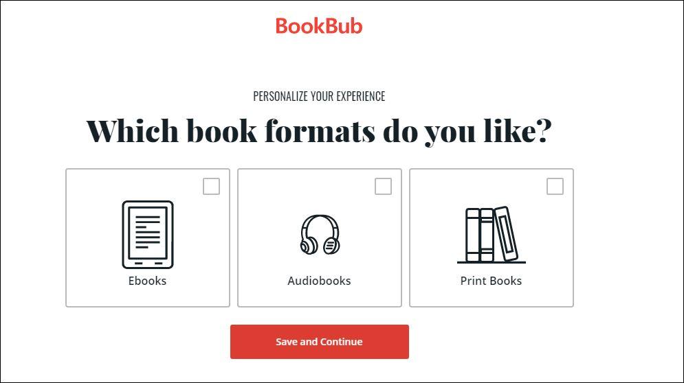 On BookBub choose your preferred book format: eBooks | Audiobooks | Print Books