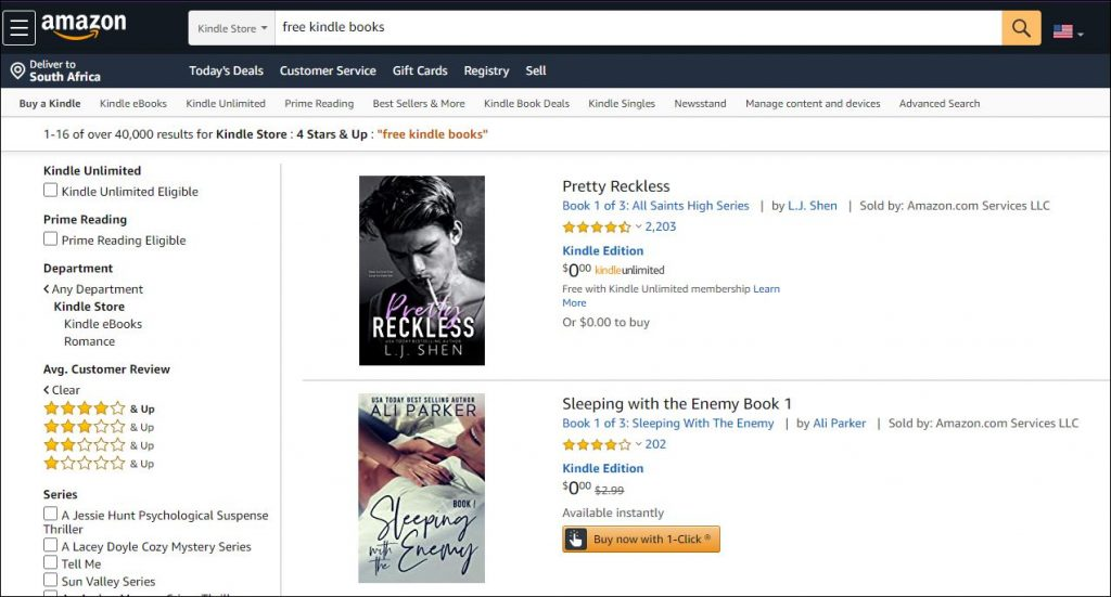Screen shot showing results of searching for free Kindle books on Amazon