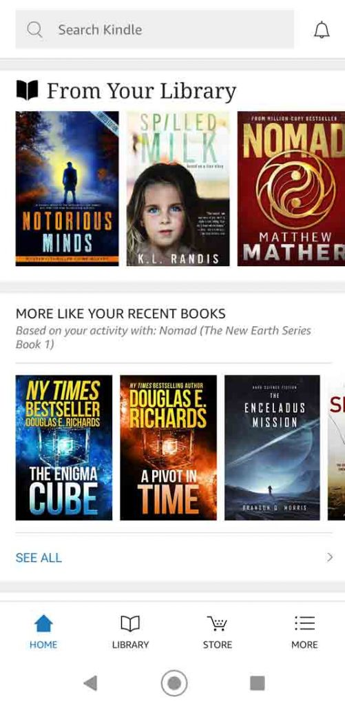 Screenshot on Android phone of Kindle Home Page
