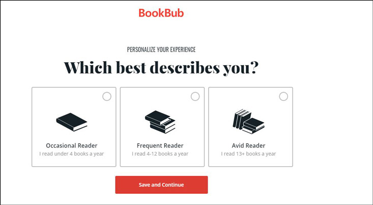 On BookBub, select the type of reader you are: Occasional | Frequent | Avid
