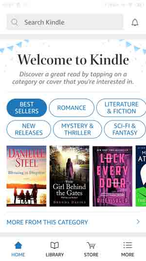 Screenshot of Welcome to Kindle page with categories and book covers