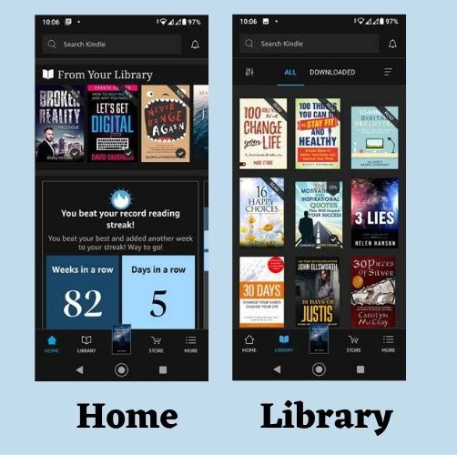 Screenshot showing Home and Library pages on Kindle