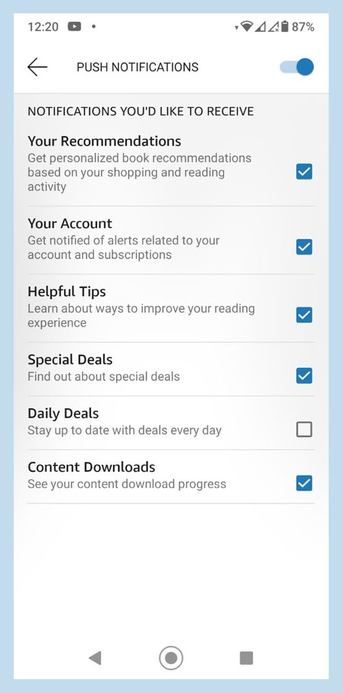 Screenshot of Kindle App on Android, showing options for Push Notifications.