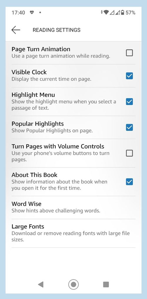 Screenshot of Kindle App on Android, showing Reading Settings