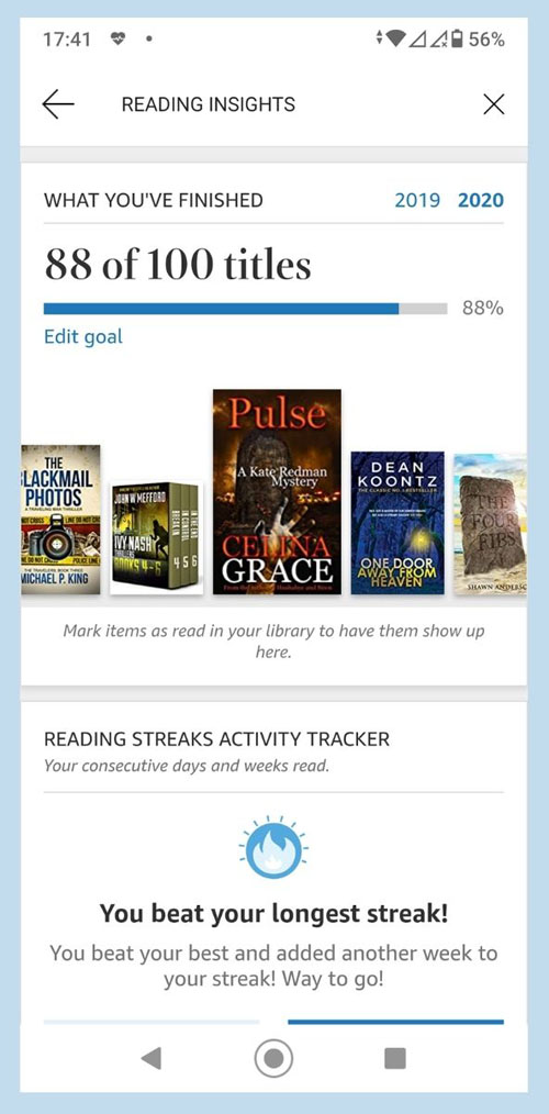 Screenshot of Kindle App on Android, showing Reading Insights