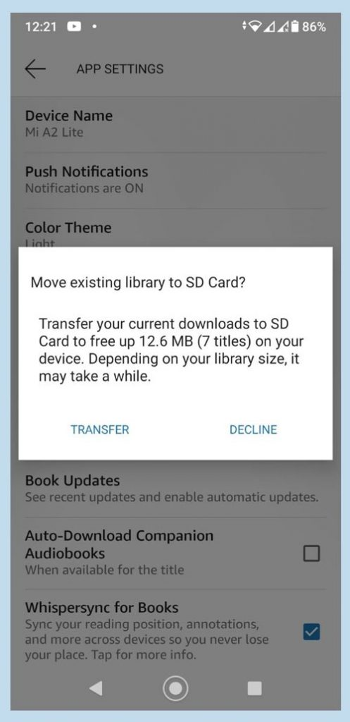 Screenshot of Kindle App on Android, asking to confirm to transfer content to SD Card.