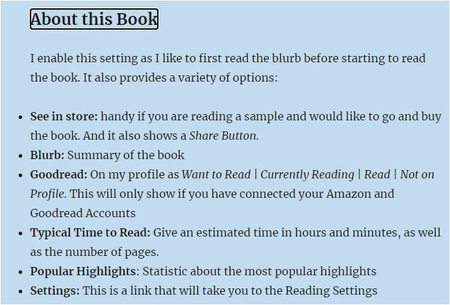 Screenshot of About this Book from Read on Kindle 3: Getting the most out of your Kindle experience
