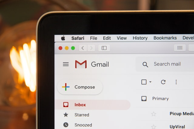 Tablet showing Gmail.