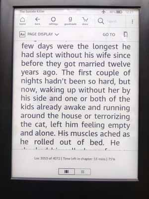 Kindle Touch Screen showing Toolbar on top.
