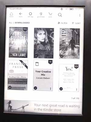 Library View on Kindle Touch showing Grid format.
