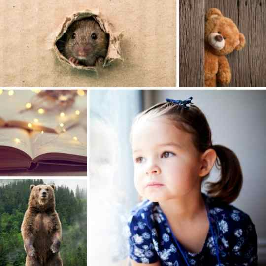 Collage of a girl, a bear standing, a teddy bear, a rat, and a dream journal