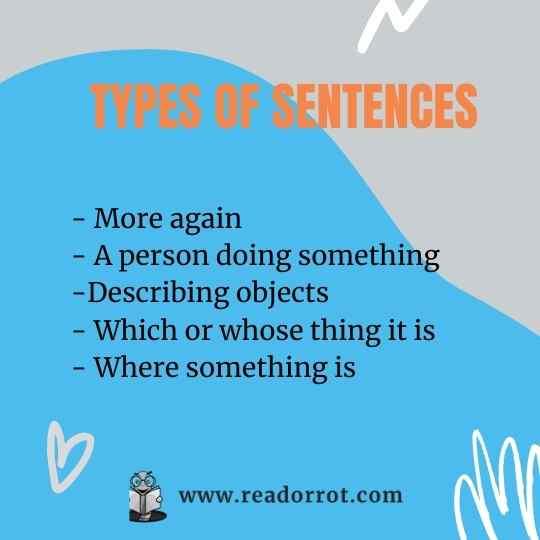 Types of more complex grammatical sentences